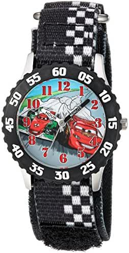 Disney Boy's 'Cars' Quartz Stainless Steel and Nylon Casual Watch, Color:Black (Model: WDS000025)
